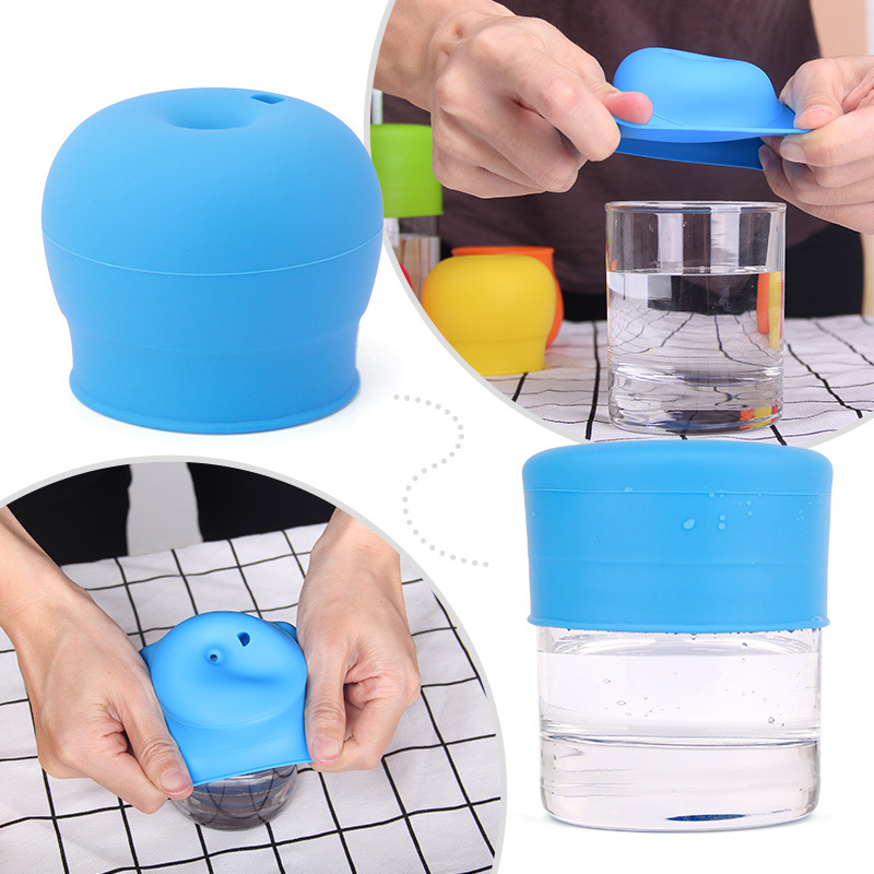 Universal Silicone Spill-Proof Sippy Cup Straw Lids Glassware Lid Water Drink Leak Proof Bottle With Straw Baby Learning Drink