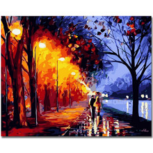 WEEN Romantic Street Light-DIY Painting By Numbers kit, Acrylic Paint,Hand Painted Oil Canvas Painting,Paint 40x50cm