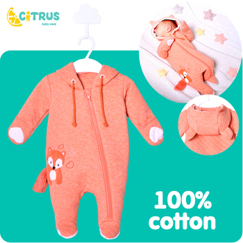 CITRUS Newborn Baby Rompers Spring Autumn Cotton Long Sleeve Clothing Kids Baby Outfits Hooded Clothes Newborn yierying baby clothing autumn and winter baby rompers long sleeves cotton hooded infant clothes cartoon newborn jumpsuits