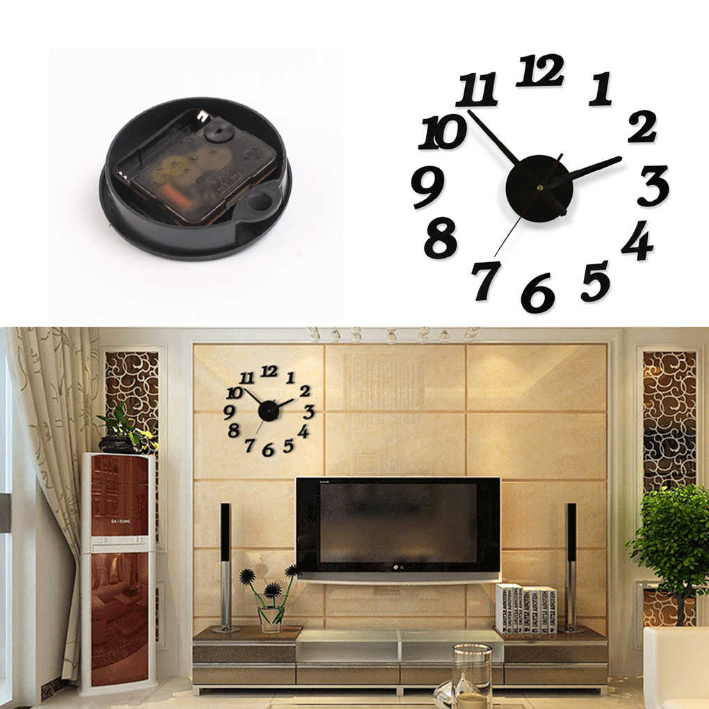 3D duża ściana naklejka zegar akrylowy cichy cyfrowy duży DIY samoprzylepny zegar ścienny nowoczesny Design do pokoju dekoracje do domowego biura
