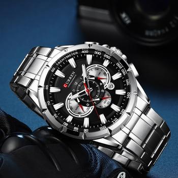 Sports Watches Men's Luxury Brand CURREN Stainless Steel Quartz Watch Chronograph Date Wristwatch Fashion Business Male Clock 2