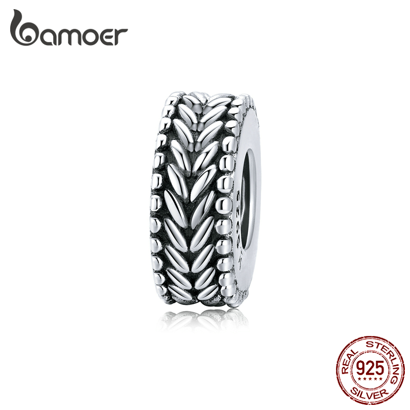 Bamoer Authentic 925 Sterling Silver Wheet Clip Charms With Silicone For Women Original Silver Bracelet & Bangle SCC1452