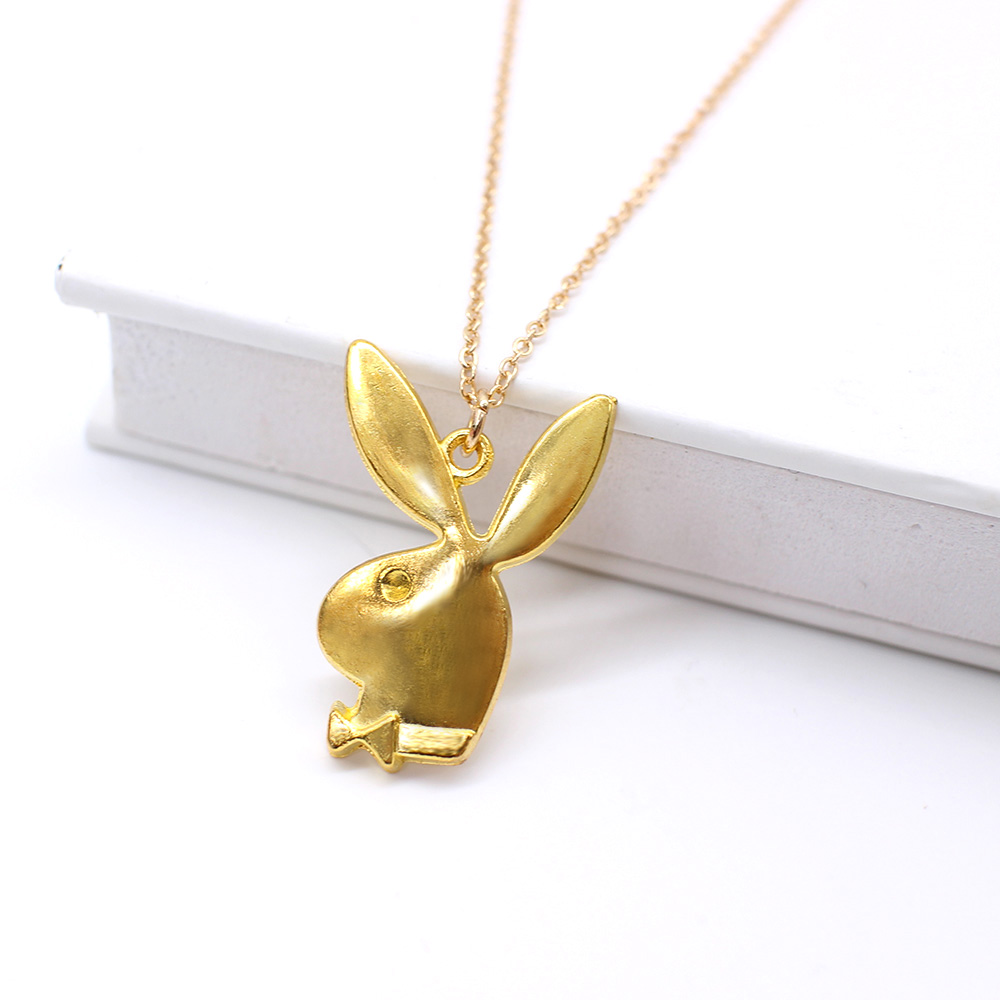 Cute play rabbit charm necklaces women jewelry funny animals Pendant necklace man Gentleman jewelry drop ship 4