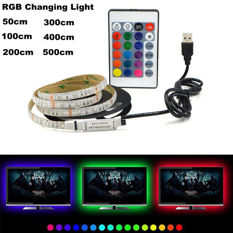 USB 5V LED Waterproof String Light Lamp Flexible RGB Changing Light Tape With Remote Control Ribbon IP65 50-200cm