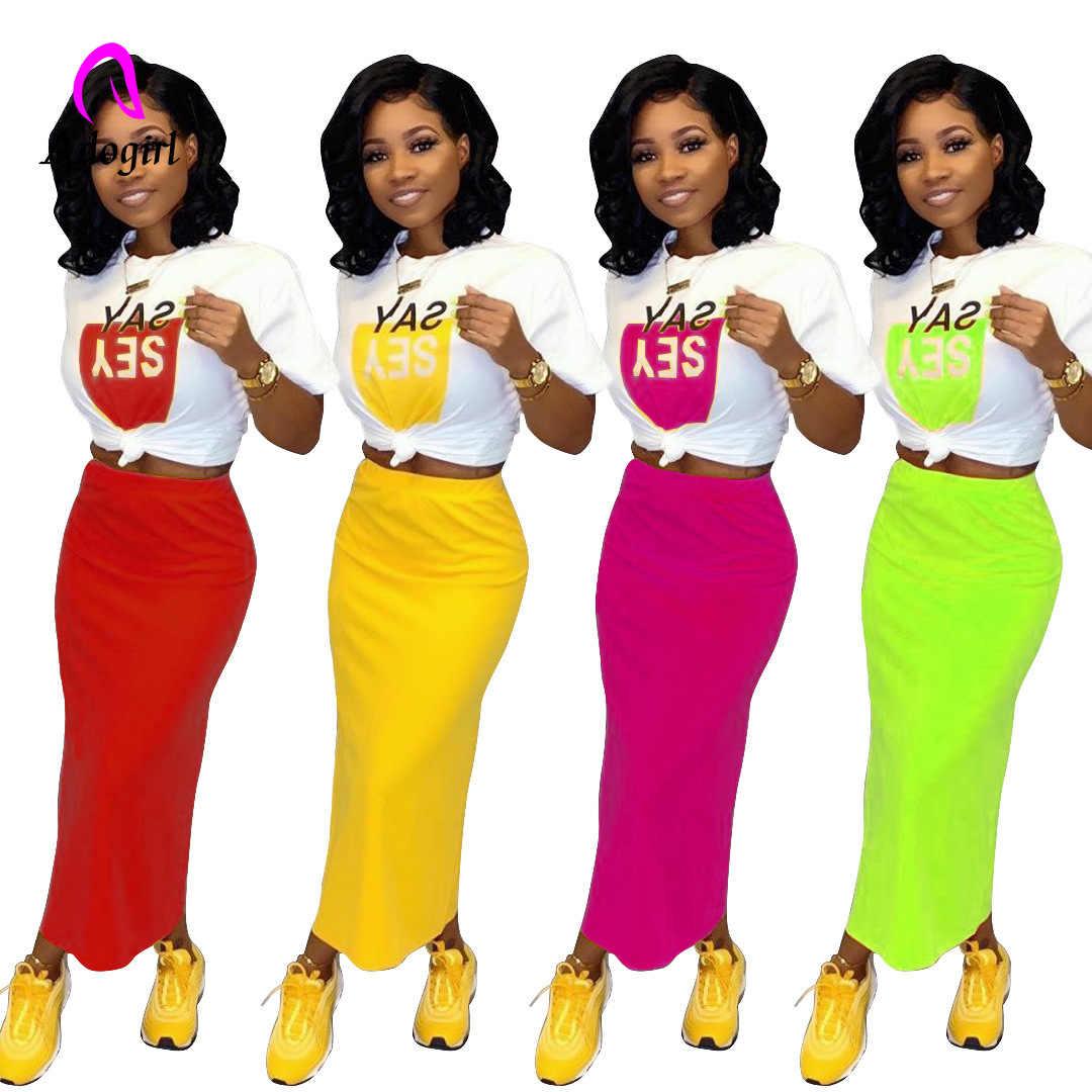 Na co dzień biały list T-shirt z nadrukiem i Bodycon ołówek szczelina spódnica zestaw kobiety 2019 jesień elegancki Party stałe dwuczęściowy zestaw Plus rozmiar
