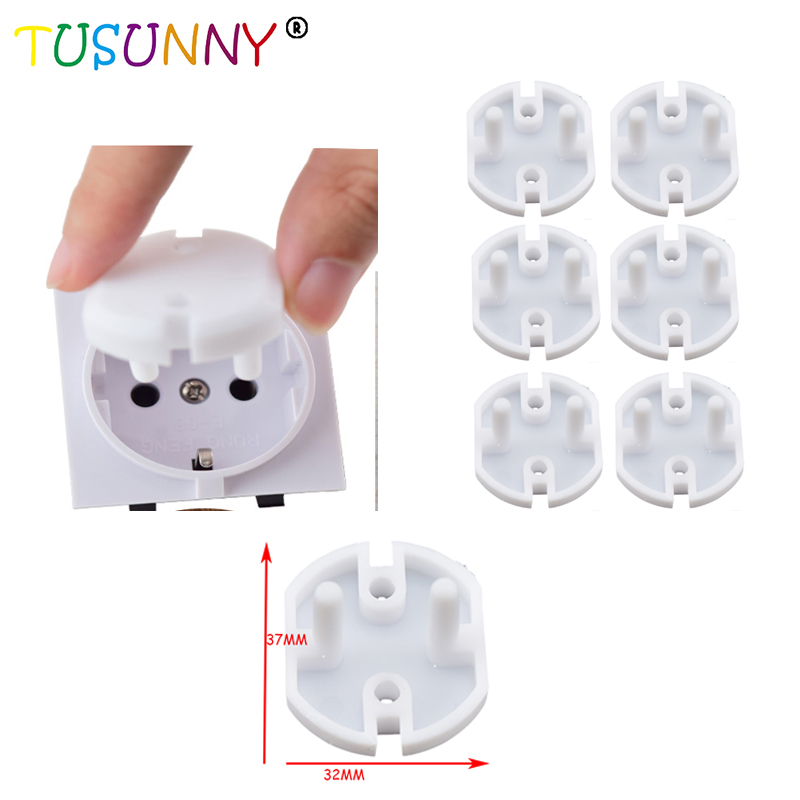 TUSUNNY 6pcs/lot European Standard Kids Electrical Safety Protector Sockets Protection 2 Hole Sockets Cover Plugs