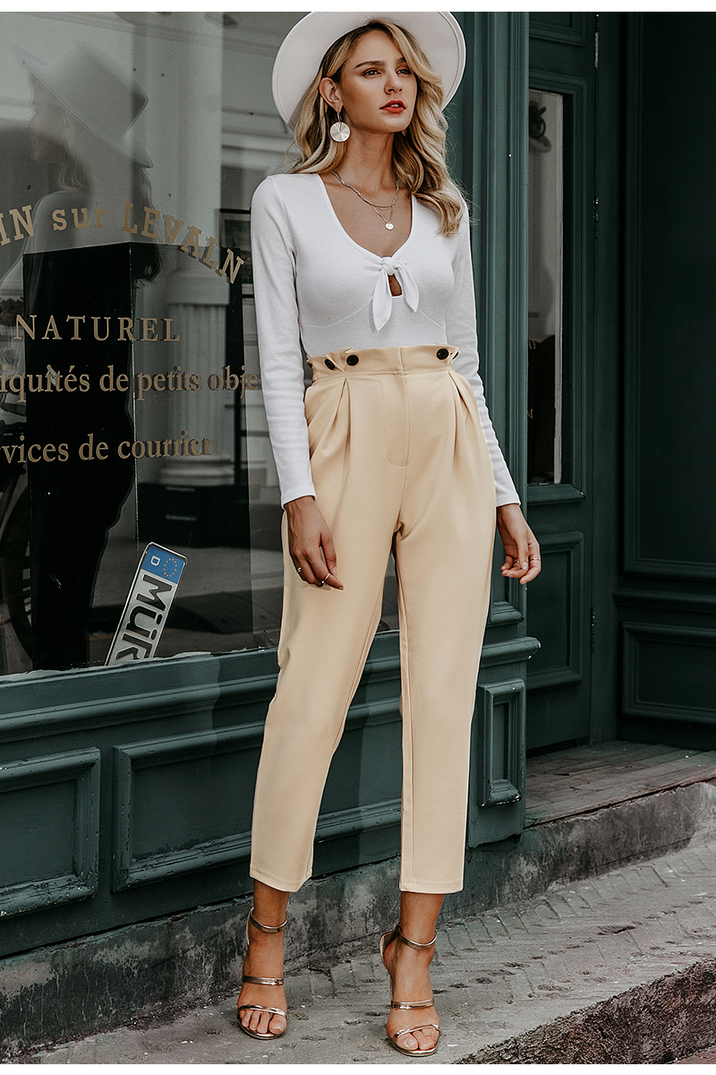 Simplee Solid casual harem pants female trousers High waist office ladies blazer suit pants Loose Ankle-length women pants 19 6