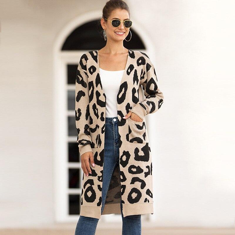 Women Leopard Knitted Long Cardigan Long Sleeve Sweater Overcoat For Female Women 2018 Autumn New Outwear Coats Women Autumn