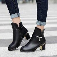 Bottines en cuir femmes affaires fête botte courte hiver 2019 bureau dame mode chaussures à talons hauts chaussures de travail Botas formel nouveau