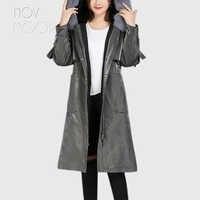 Novmoop büro dame winter warme oversize echt pelzmantel frauen lange jacke mit fuchs pelz kragen retachable manteau femme LT2819