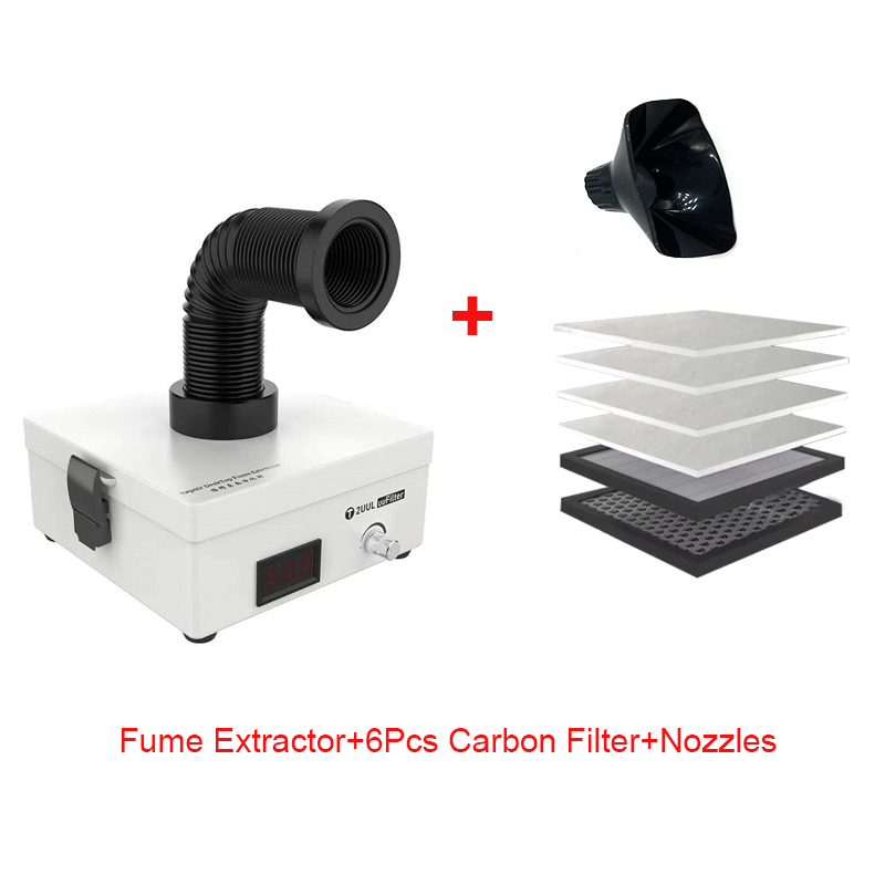 2UUL Desktop Fume Extractor 110V 220V Phone PCB Welding Laser Marking Smoke Absorbing Purifier With Activate Carbon Filter