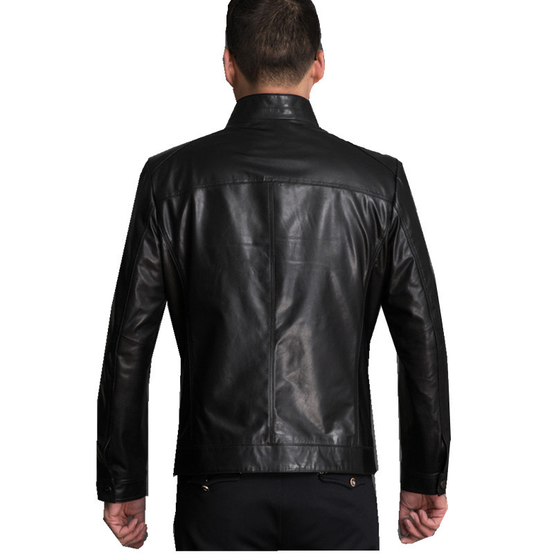Genuine Sheepskin Leather Jackets Coat Chaqueta Cuero Hombre Black High Quality Male Leather Jacket Motorcycle FYY587