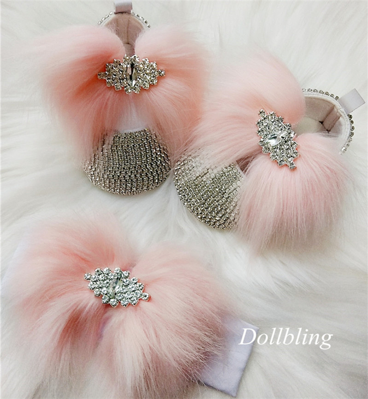 Soft Pink Hair Bling Baby Shoes And Headband Photo Birthday White Ostrich Feather Evening Party Shoes Ballerina Zapatos De Bebe