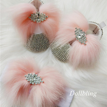 Soft Pink Hair Bling Baby Shoes and Headband Photo Birthday