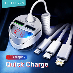 KUULAA USB Car Charger Quick Charge 4.0 Fast Charging Charger Micro USB C with Cable For iPhone Huawei Xiaomi Mi Type C Phone