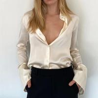 Fashion 100% Silk Women's Blouse Long Sleeve Lady Office Shirt Single breasted Wild Stylish Soft Shirts and Tops