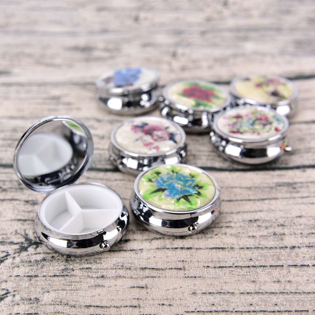 3 Cell Metal Round Silver Tablet Pill Boxes Holder Silver Pill Boxes Small Case Tablet Container Metal Round Medicine Case 1pc