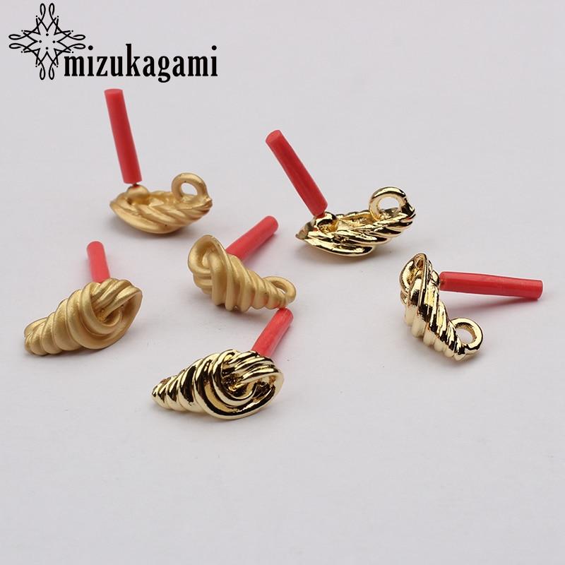 Zinc Alloy Golden Spiral Conch Shape Earrings Base Connectors Linker 6pcs/lot 8*15mm For DIY Fashion Drop Earring