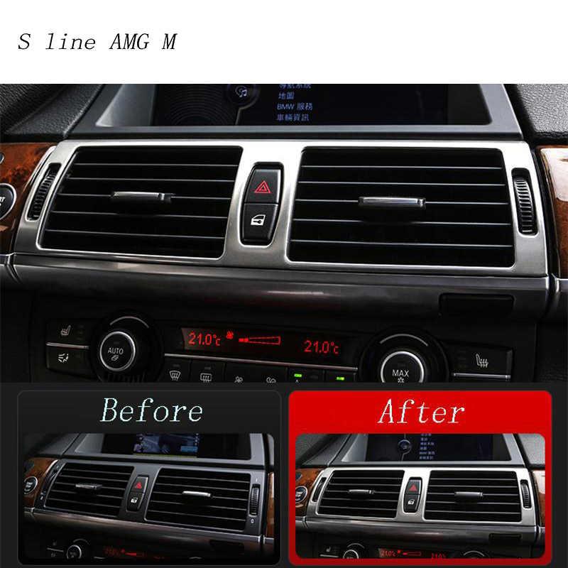 Voiture style intérieur boutons panneau cadre décoration couvre garniture autocollants pour BMW x5 x6 e70 e71 acier inoxydable Auto accessoires