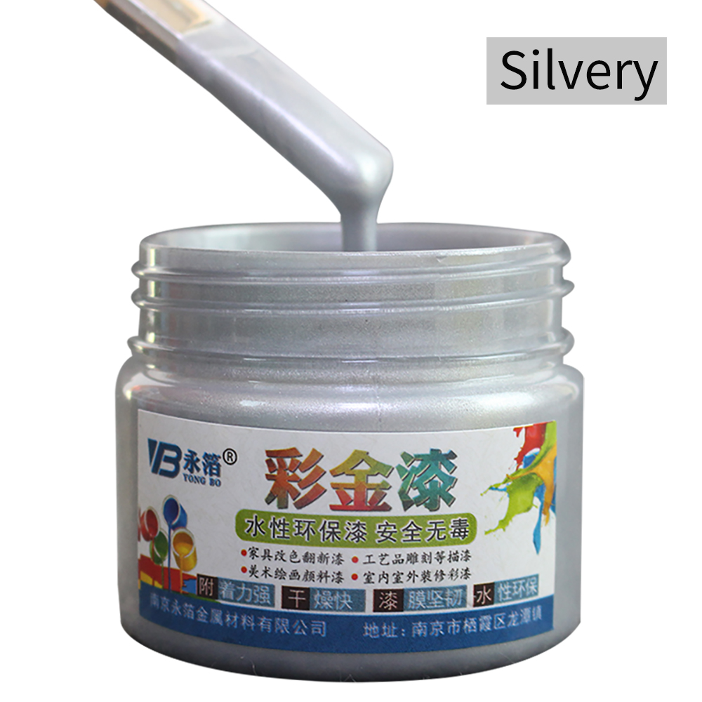 Silver Wood Varnish Water-based Paint In Walls Arts Crafts Wooden&Iron Door Paint For Wood Acrylic Paint 100ml Furniture Paint
