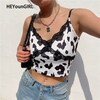 HEYounGIRL Lace Animal Cow Print Sleeveless Cami Top Y2K Summer Sexy Backless Spaghetti Strap Crop Tops Tees Women Casual 2020 цена 2017