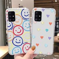 Clear Glimlach Case Voor Samsung A51 A71 A32 A52 A72 Case Siliconen Leuke Zachte Bumper Op Samsung A12 A31 A50S a30S A20 M51 A21S Covers