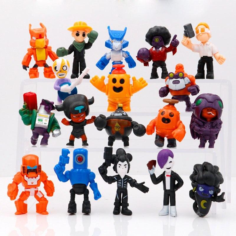 18 Pcs/set Brawl Figure Game Anime Hero Model Spike Shelly Colt Leon Figuresdoll New Year Xmas Toy Gift For Children