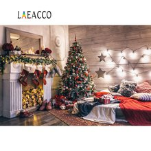 Laeacco Photography Backdrops Christmas Baby Boudoir Fireplace Tree Bauble Gift Child Interior Background Photocall Photo Studio