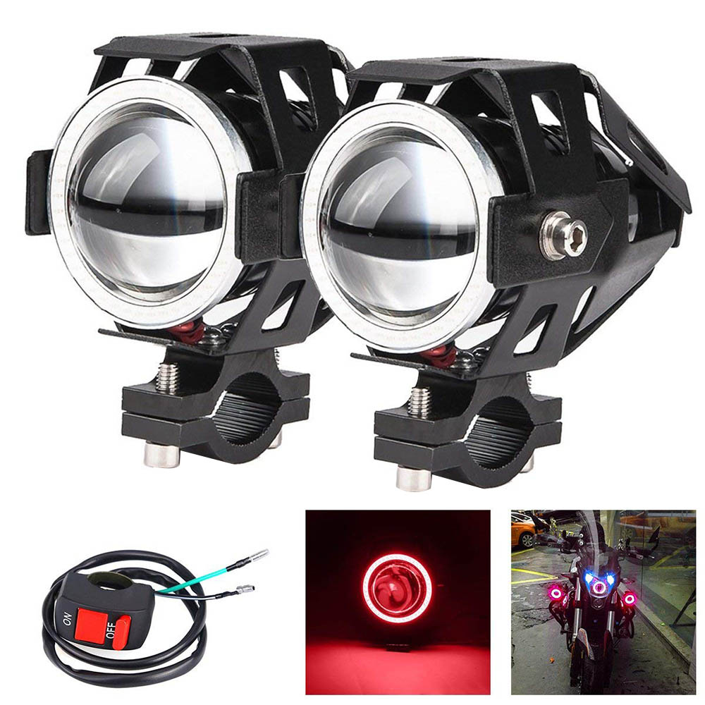 2pcs 125W U7 Store Motorcycle Angel Eyes Headlight DRL Spotlights Auxiliary Bright LED Bicycle Lamp Accessories Work Fog Light
