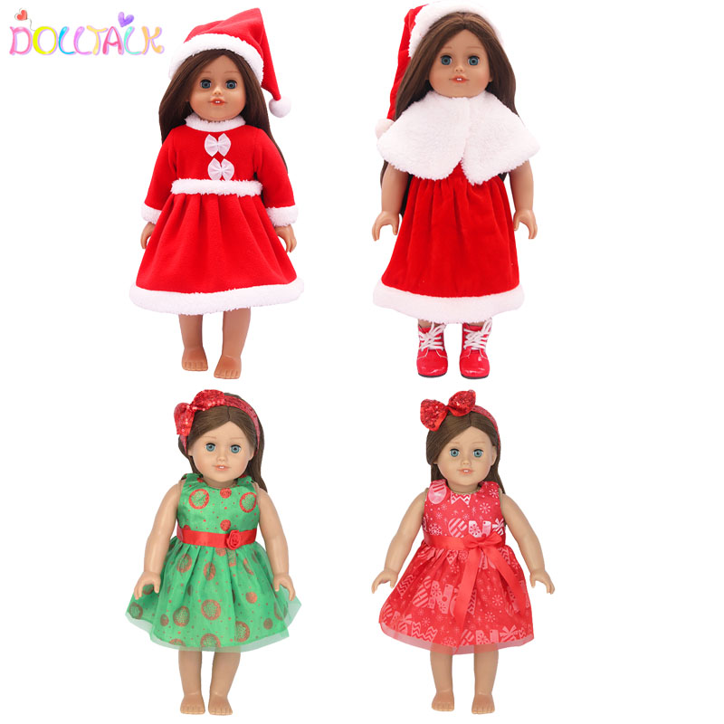 Winter Cute Christmas Doll Clothes Doll Dress 18 Inch American Doll Or 43 Cm Doll Our Generation Doll Accessories Kids Gift