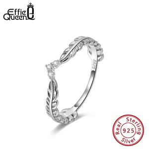 Effie Queen Настоящее серебро 925 пробы кольца для женщин с AAA цирконием в форме листа обручальное кольцо серебряное кольцо ювелирные изделия Anillos ...