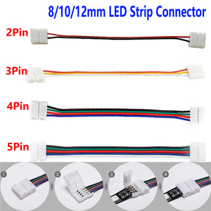 5-100pcs 2/3/4/5 Pin LED Strip Connector for 8mm 10mm 12mm 3528 5050 5630 RGB RGBW IP20 Non-waterproof LED Tape Light to Wire