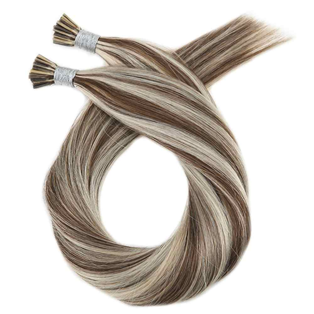 Moresoo I tip Hair Keratin Fusion Extensions Real Machine Remy Human Brazilian Hair Natural Straight Pre-bonded Hair 50G/50S