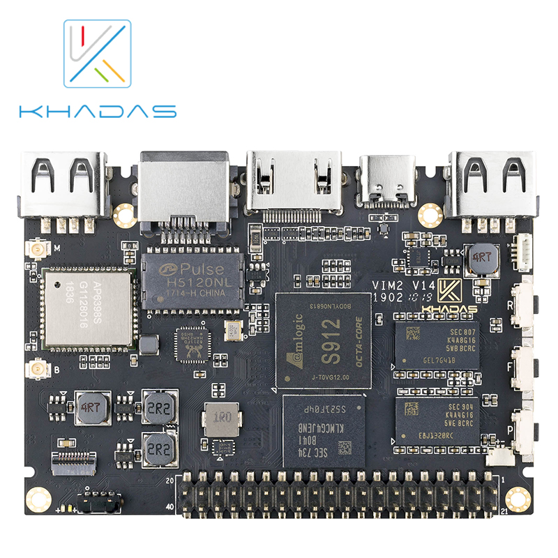 Khadas VIM2 Basic Powerful Single Board Computer Octa Core with MIMOx2 WiFi AP6356S WOL Amlogic S912 DIY Box-in Demo Board from Computer & Office