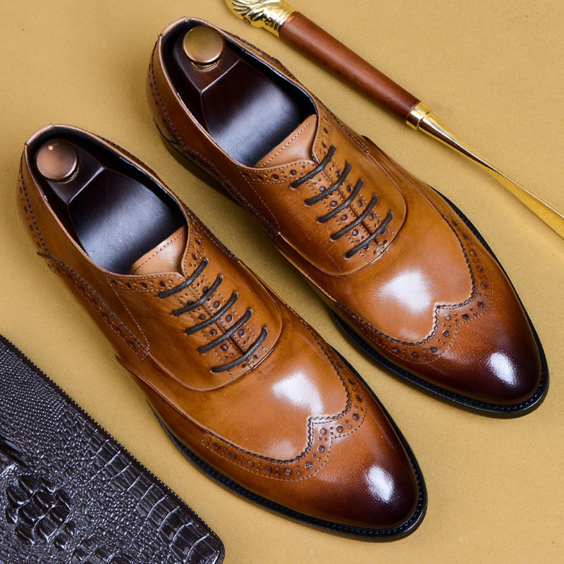 Mens Formal Shoes Leather Oxford Shoes For Men Dressing Wedding Men's Brogues Office Shoes Lace Up Male Dress Shoes