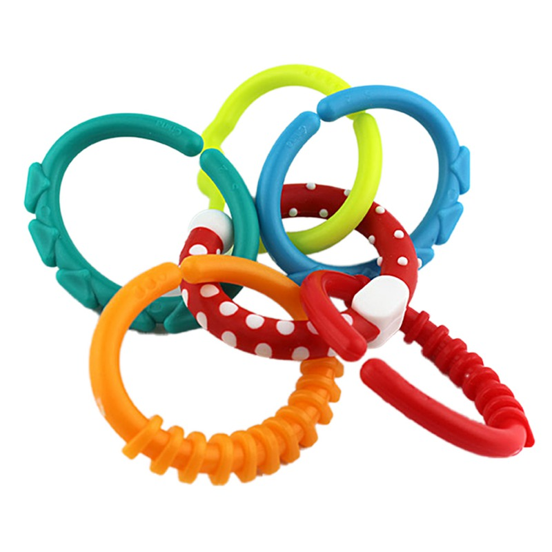 NEW Baby Rainbow Circle Link Toy Teether Rings Crib Bed Stroller Hanging 6PCS