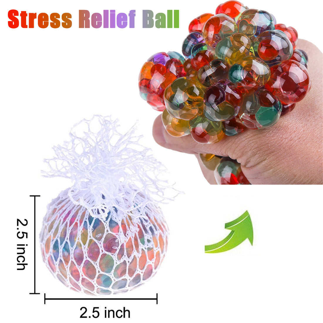 Decompression Toys Ball-Stress Squishy Squeeze Rainbow Funny Anxiety Relief 1PC Mesh img1