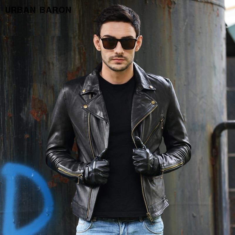New Sheepskin Jackets Men's 100% Genuine Leather Motor Biker Jacket Slim Plus Size Casual Coat Classic