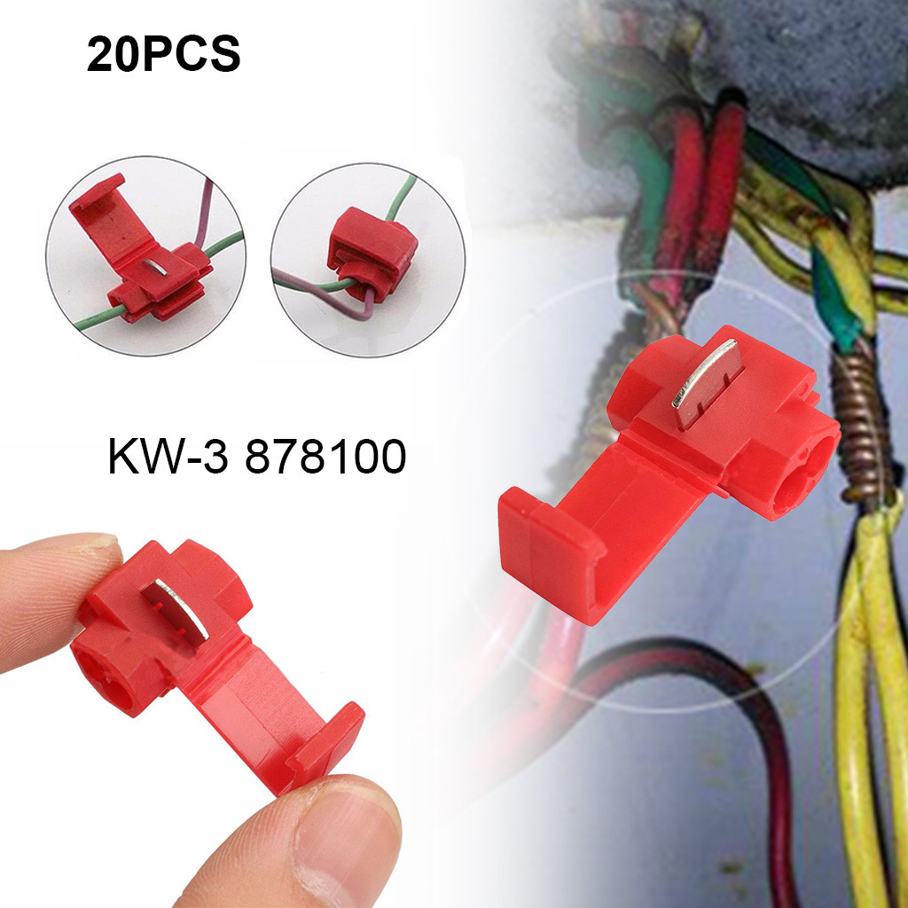 30^New 20Pcs Lock Wire Electrical Cable Connector Quick Splice Terminals Crimp For Car Break Free Quick Connect Terminal