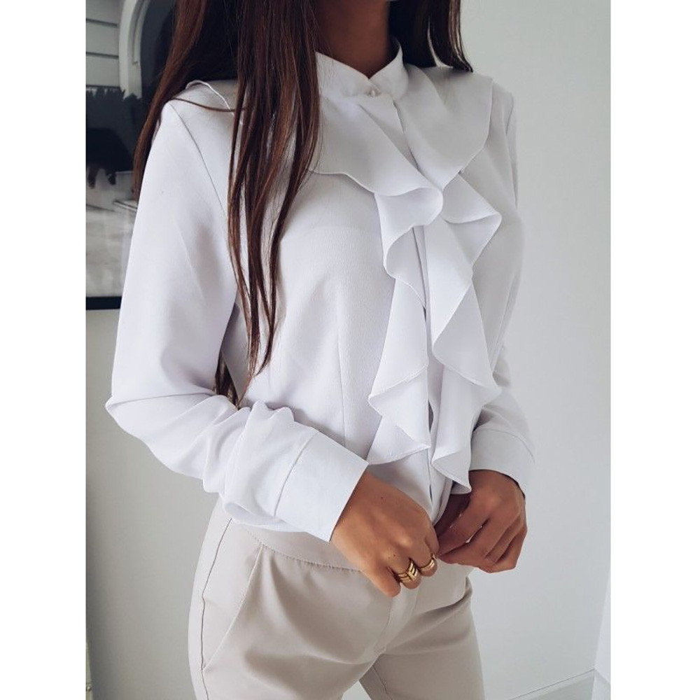 Ruffle Ladies Blouses Shirt White Black Elegant Office Blouse Sleeve Plus Size Womens Tops Clothing Feminine Blouse 2019 Autumn