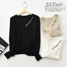 Shuchan Embroidery Letter Sweaters Fashion 2019 Women Thin V-Neck High Street Pullovers Runway Sweater Cute black