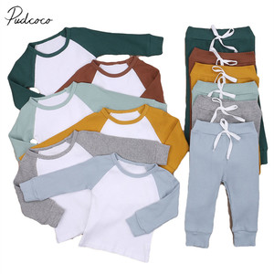 Infant Kids Boy's Long-sleeved Trousers Suit Ribbed Patchwork Fashion Color Contrast T-shirt and Elastic Bandage Long Pants