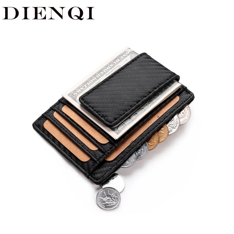 Slim Wallets Carbon-Fiber Small Purse Clips Money-Bag Mini DIENQI RFID Credit-Card Thin