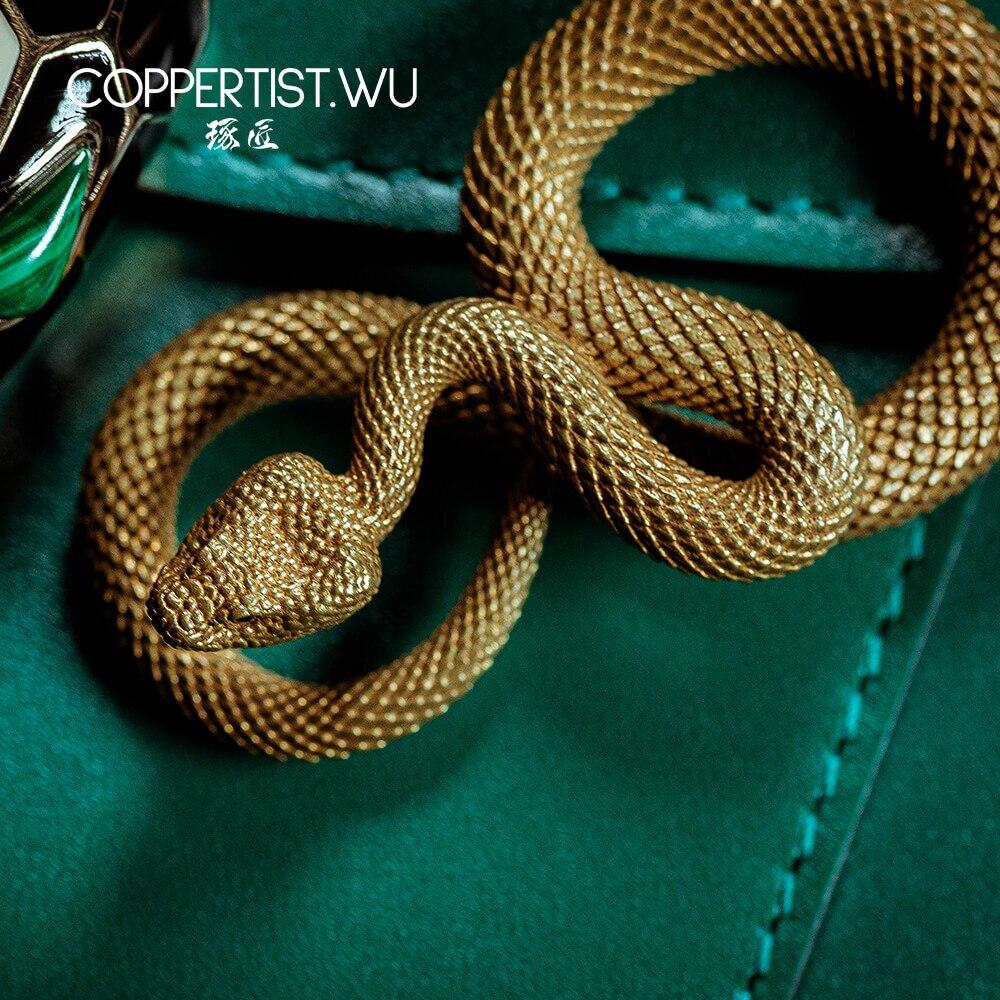 COPPERTIST.WU Handmade Bronze Snake Keychain Belt Key Chain Realistic Animal Key Ring Charms Handbag Pendant Gothic Gift For Men