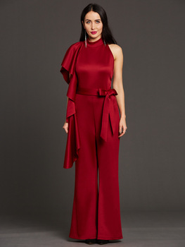 Ladies Red Halter Backless Tops - Pants Jumpsuit Women Sexy Off Shoulder Round Neck Sleeveless Wide Leg Pants Jumpsuit  484293 women s jumpsuit 11 color jumpsuit wide leg pants sexy fashion solid color backless multi method jumpsuit women summer 2020