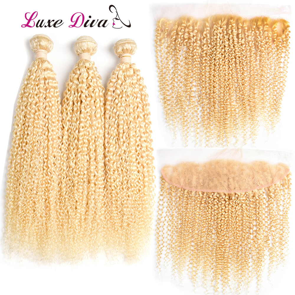 LuxeDiva Kinky Curly 613 Honey Blonde Bundles With Frontal Closure Brazilian Human Hair Weave Bundles With Frontal Afro Remy
