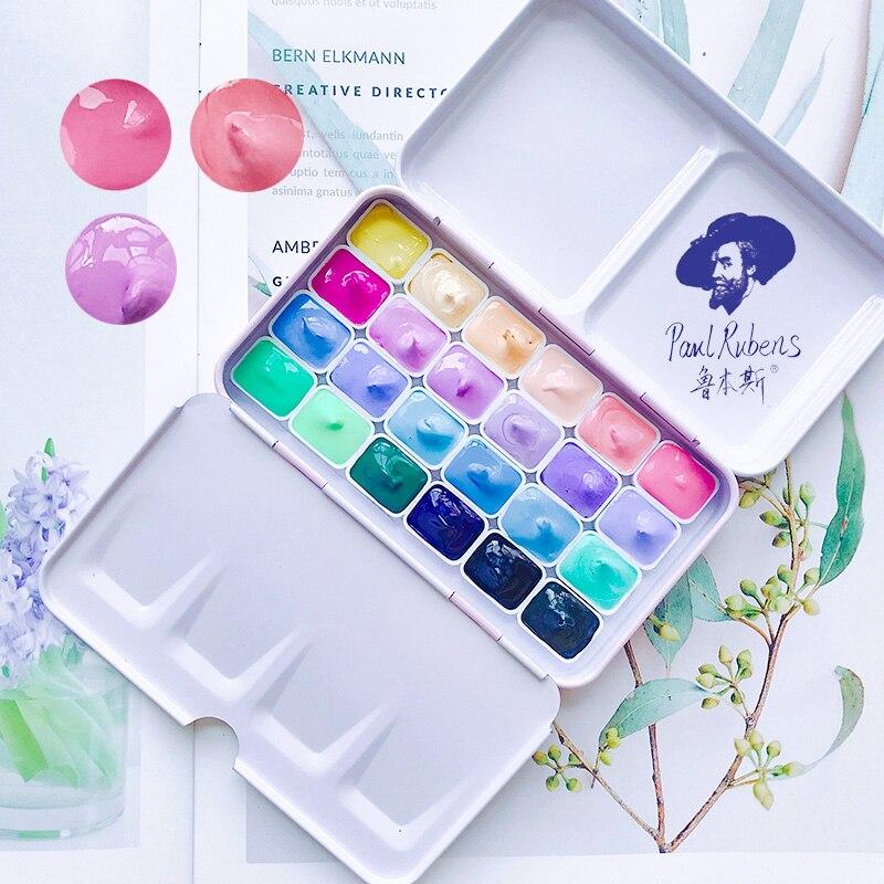Rubens Candy Color Watercolor 24 Colors Acuarelas Pigment Packing Aquarelle Wasserfarbe Mini Aguarela Acuarela Art Supplies