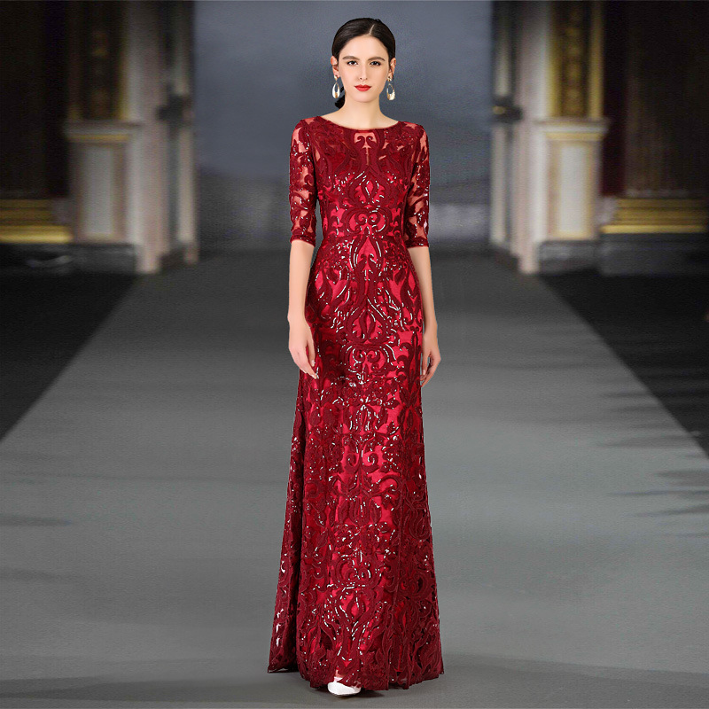 2020 Promotion Bridesmaid Autumn And Winter 2020 Mid Sleeve Evening Dress Bride Wedding Toast Foreign Style Banquet Slim Woman