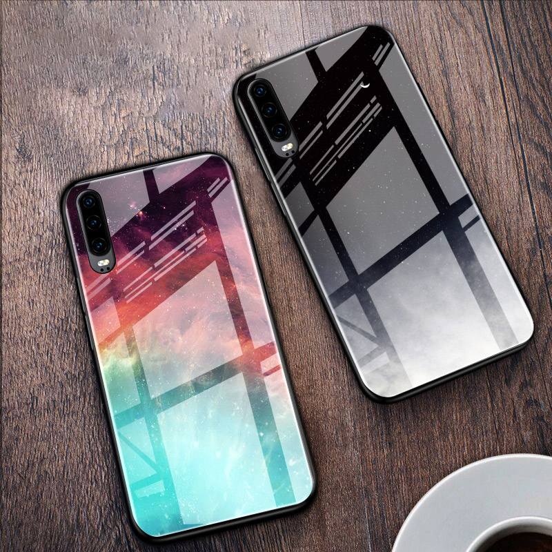 Colorful Glass Phone Case For Huawei P10 P20 P30 Lite Pro Nova 3i 5T Honor 9 10 Lite 8A 8X 9X 20S Y6 Y7 P Smart 2019 Cover Coque