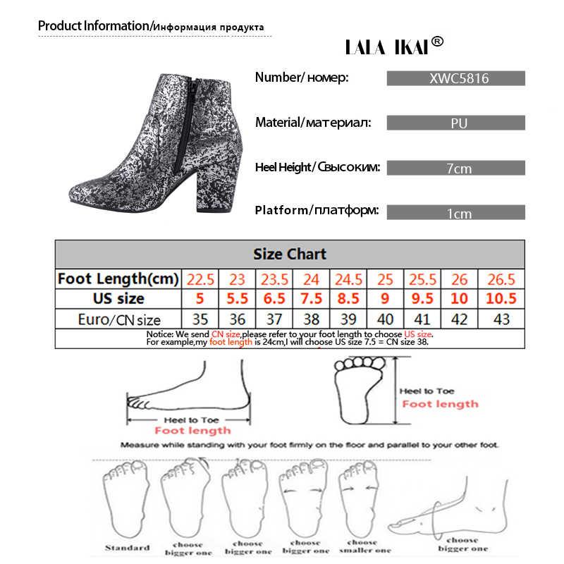 LALA IKAI Kadın Ayakkabı 2019 Sonbahar Platformu Çizmeler Kadın Sivri Burun Kış Baskılı Yüksek Topuklu Çizmeler zapatillas mujer XWC5816-4